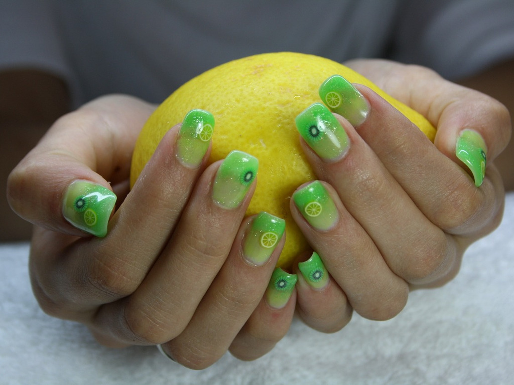 Bright Acrylic Nail Art Design